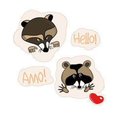 Illustrations in vector, set of cartoon drawings, stickers with raccoon, hearts