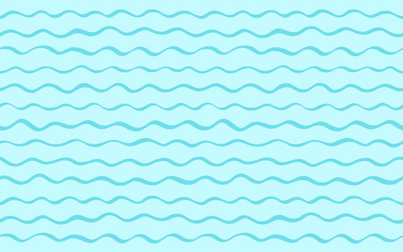 Sea, river waves summer, holiday abstract background. Wavy stripes, undulating seamless streaks, bars vector pattern. Long, elongated, horizontal shape. Marine, maritime, naval striped water template