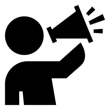 Person Speaking Into Megaphone Vector Icon