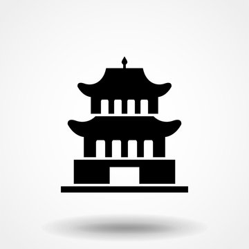 Pagoda tiered tower icon vector, filled flat sign, solid pictogram isolated on white. Symbol, logo illustration.