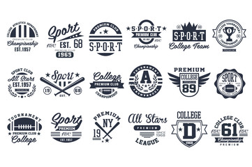 Sport club logo design set, baseball retro emblem, label, badge vector illustrations