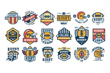 College rugby team logo design set, sport retro emblem, label, badge vector illustrations
