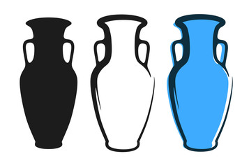 Fototapeta Vector amphora image in blue color and silhouettes in white and black background isolated in flat style obraz