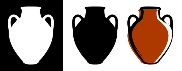 Fototapeta Vector ancient amphora image in brown color and silhouettes in white and black background isolated in flat style. obraz