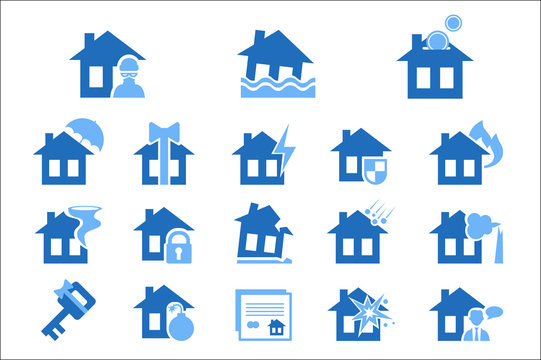 Property insurance blue icon vector Illustrations on a white background