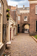 Hallway path in Dordrecht, The Netherlands. unique buildings and Typical European structures.