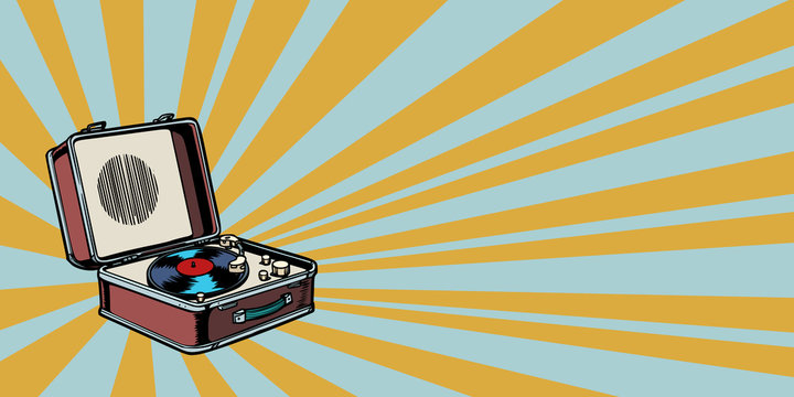 retro vinyl record player pop art background