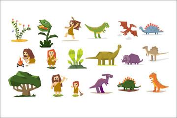 Prehistoric stone age elements set, primitive people, dinosaurs, plants cartoon vector Illustrations on a white background