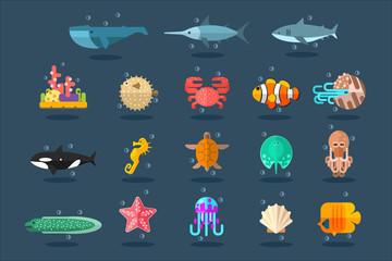 Fototapeta Underwater animals set, lea life vector Illustration in flat style