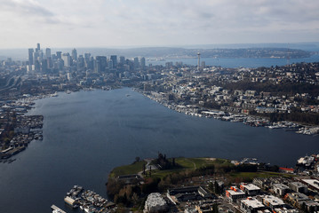 An aerial photo looking south shows Gas Works Park and Lake Union with downtown Seattle in the distance in Seattle