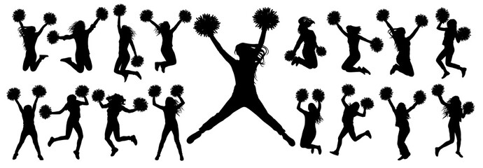 Silhouettes of cheerleading dancers (jumping and standing) with pompoms, isolated set of icons.Vector illustration.