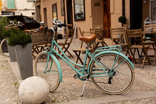Bicicleta retro azul