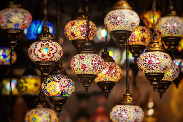 Oriental lamps in brass with colorful glasses