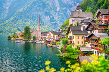 Scenic view of famous Hallstatt village in Austria Wall mural