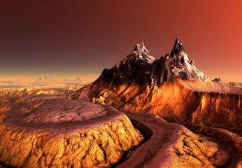Fototapeten Braun 3D Rendered Fantasy Mountain Landscape - 3D Illustration