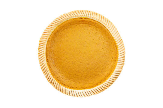 Top View - Fresh delicious pumpkin pie on white background ( Isolated pie dessert pumpkin, sweet potato)