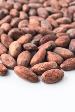 Whole bitter cocoa beans, isolated on white background