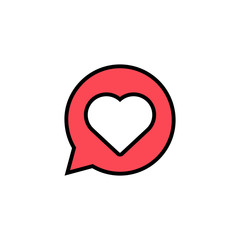 Heart inside chat bubble text message icon. Vector.