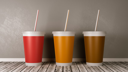 Fast Food Drinking Cups on Wooden Floor Against Wall