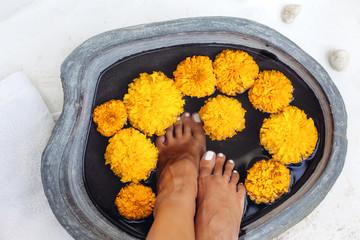 Foot bath and spa pedicure treatment