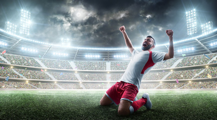 Soccer wins. Professional soccer player celebrates winning the open stadium. Sport. Joy of life