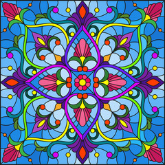 Garden Poster Moroccan Tiles Illustration in stained glass style with abstract floral ornaments, flowers, leaves and curls on blue background, square image