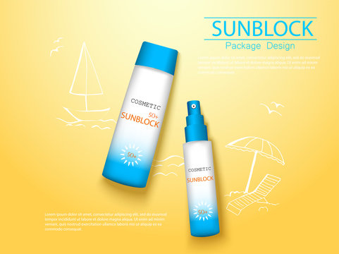 top view sunplock sun protection cream and spray realistic ads 3d cosmetic package with hand draw doodle element.