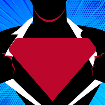 Man in Superman Pose Opening his Shirt to reveal the Blank Triangular Logo Design business Empty template isolated Minimalist graphic layout template for advertising