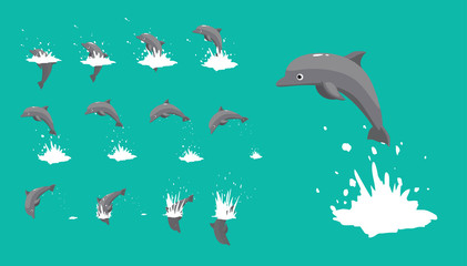 Dolphin Jumping Motion Sequence Cartoon Vector Illustration