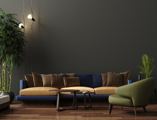Luxury modern living room interior, dark green brown wall, modern sofa with armchair and plants, 3d render