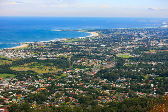 Panoramic view of the Australian east coast from the town of Bulli down to Wollongong, NSW, Australia