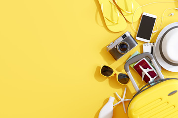 Wall Mural - Flat lay yellow suitcase with traveler accessories on yellow background. travel concept. 3d rendering