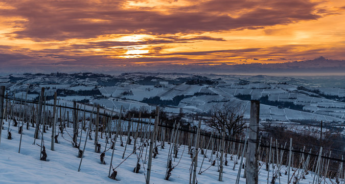 wide angle panorama of Langhe hills in winter, unesco heritage