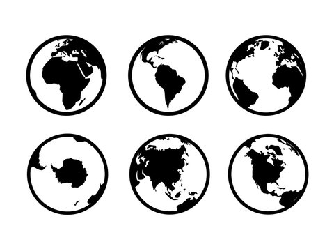 Earth globe icons. World circle map geography internet global commerce tourism vector black symbol set