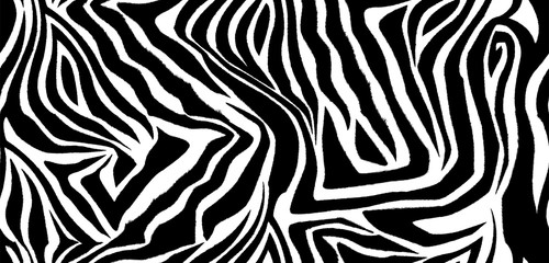 Zebra skin seamless vector pattern. Striped black and white wool texture of the animal for corporate identity, clothing or printing on paper. Wall mural