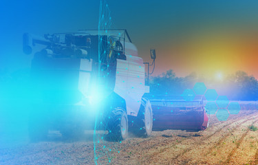 combine harvester control using artificial intelligence, an abstract view of future technologies and connections