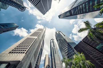 Fototapete - Raffles Place, business district in Singapore