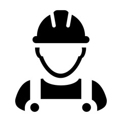 Contractor icon vector male worker person profile avatar with hardhat helmet and jacket in glyph pictogram illustration
