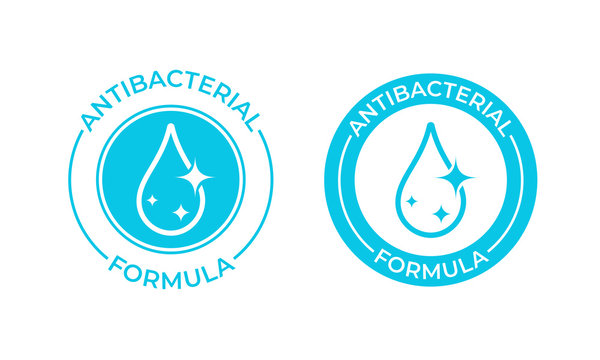 Antibacterial formula vector icon. Antibacterial soap or antiseptic and chemical cleaner product package seal