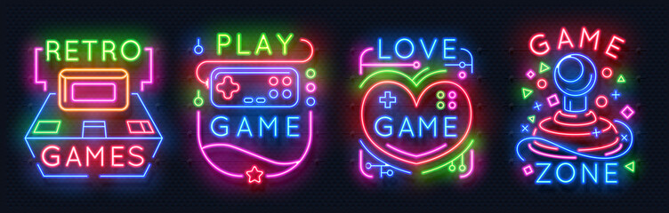 Neon game signs. Retro video games zone, player room glowing emblems, night light labels. Vector glowing neon gamer icons