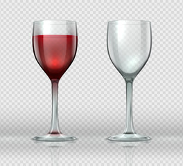 Realistic wine glasses. Transparent isolated wineglass with red wine, 3D empty glass cup for cocktails. Vector winery glasses template set