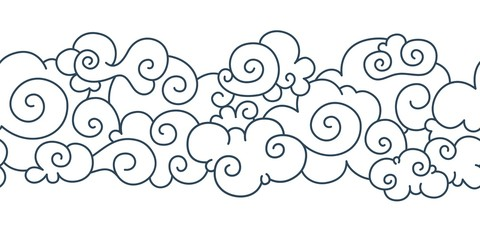 Asian cloud pattern. Chinese japanese oriental border hand drawn tibetan sky ornament elements. Vector decorative vintage curly clouds