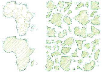 アフリカ地図クレヨンc
