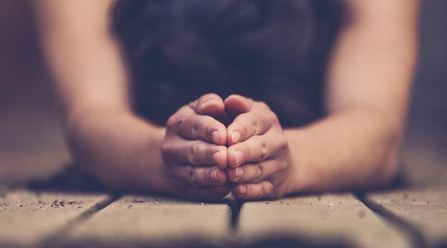 Hands woman doing yoga close up.