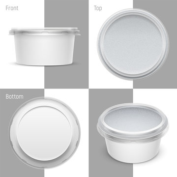 Vector white round plastic container with foil and transparent lid. Packaging template illustration.