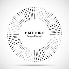 Wall Mural - Halftone music circle frame abstract dots logo emblem design element. Half tone circular icon. Disc musical insignia. Round border using halftone circle dots raster texture. Vector illustration.