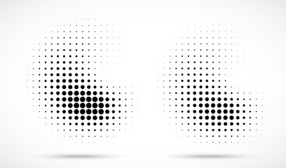 Wall Mural - Halftone dots curved gradient pattern texture isolated on white background set. Curve dotted spots using halftone circle dot raster texture collection. Vector blot half tone illustration.
