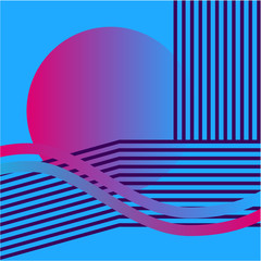 Wall Murals Candy pink Retrowave Circle Background