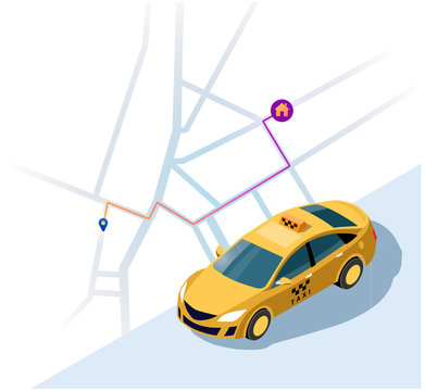 Service of taxi. Concept of a taxi car. Vector 3d isometric illustration of yellow taxi car with the shortest route map to the house