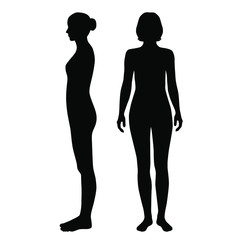 Vector silhouettes of woman standing, different poses,  couple,  black color, isolated on white background
